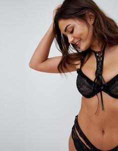 Бюстгальтер на косточках со шнуровкой ASOS FULLER BUST PREMIUM Danielle - Черный