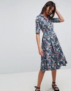 Платье с цветочным принтом и пуговицами Uttam Boutique - Мульти