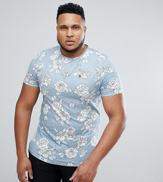 Удлиненная обтягивающая футболка с цветочным принтом Noose & Monkey PLUS - Синий