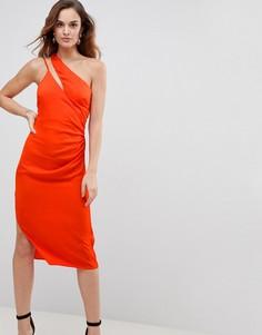 Атласное платье-футляр на бретельках ASOS - Оранжевый