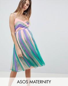 Приталенное платье миди со свободной юбкой в стиле колор блок ASOS MATERNITY - Мульти