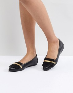 Туфли на плоской подошве с металлической вставкой London Rebel - Черный