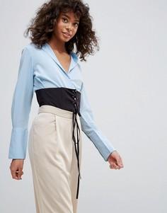 Рубашка бойфренда с корсетом на талии Neon Rose - Синий
