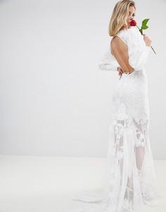 Сетчатое платье макси с вышивкой и открытой спиной ASOS EDITION BRIDAL - Белый