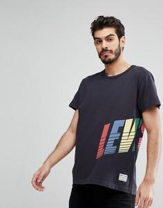 Черная футболка с логотипом и запахом Levis - Черный