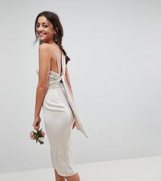 Атласное платье-футляр миди с завязкой на спине ASOS TALL WEDDING - Золотой