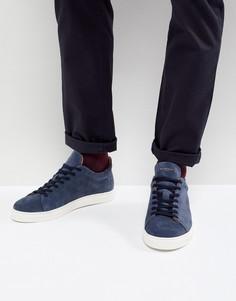 Темно-синие замшевые кроссовки с белой подошвой Selected Homme - Темно-синий
