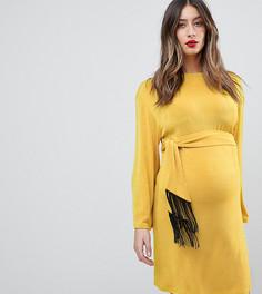 Платье мини с бахромой на поясе и широкими рукавами ASOS MATERNITY - Желтый