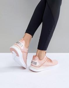 Розовые атласные кроссовки Puma Running Ignite Flash Evoknit - Розовый