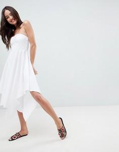 Хлопковое легкое платье бандо ASOS - Белый