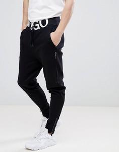 Черные трикотажные джоггеры с логотипом HUGO Exploded - Черный