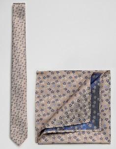 Комплект из галстука и платка для нагрудного кармана с цветочным принтом Burton Menswear - Кремовый
