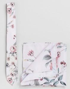 Галстук и платок для пиджака с цветочным принтом Burton Menswear - Розовый