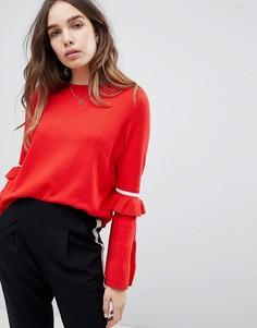 Джемпер с круглым вырезом и полосками на рукавах Only - Красный