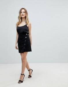 Мини-юбка на пуговицах из искусственной замши Lipsy - Черный