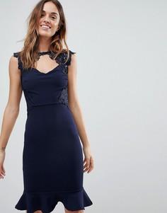 Платье миди с кружевной отделкой и баской Lipsy - Темно-синий
