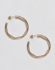 Серьги-кольца со вставкой геометрической формы ASOS - Золотой