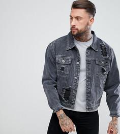 Черная джинсовая куртка oversize с рваной отделкой Liquor N Poker - Черный