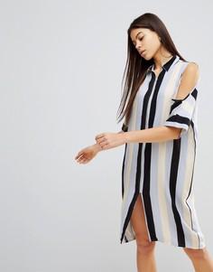 Платье в полоску с открытыми плечами Noisy May - Мульти