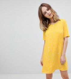 Свободное платье с цветочным принтом Glamorous Petite - Желтый
