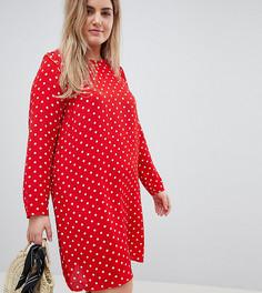 Свободное платье с длинными рукавами в горошек Glamorous Curve - Красный