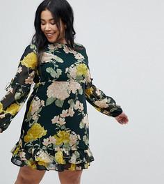 Платье мини с цветочным принтом и оборками Boohoo Plus - Мульти