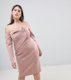 Платье-бандо миди с длинными рукавами и складками ASOS CURVE - Розовый