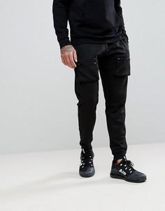 Черные джоггеры скинни с карманами на молнии boohooMAN - Черный