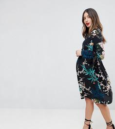 Короткое приталенное платье с цветочным принтом Queen Bee - Мульти