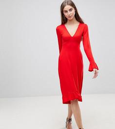 Чайное платье миди с оборками ASOS TALL - Красный