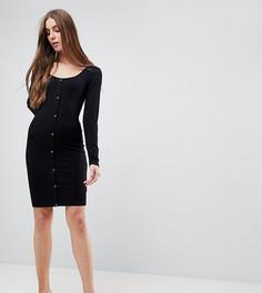 Облегающее платье мини на кнопках с длинными рукавами ASOS TALL - Черный