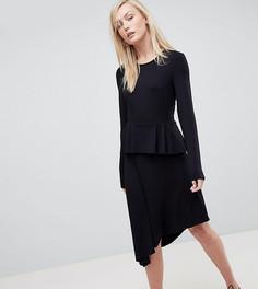 Приталенное платье миди с баской ASOS TALL - Черный