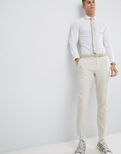 Светло-бежевые брюки слим River Island - Кремовый