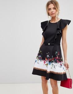 Короткое приталенное платье Ted Baker Shaelin - Черный