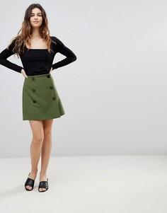 Двубортная мини-юбка ASOS - Зеленый