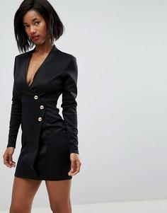 Платье с запахом и длинной молнией на спине Club L - Черный
