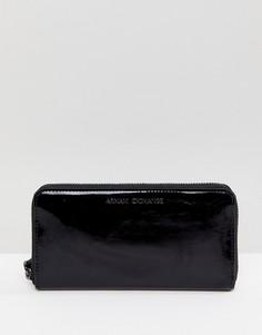 Черный лакированный кошелек Armani Exchange - Черный