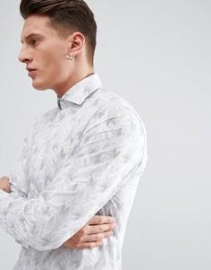 Зауженная рубашка с принтом Selected Homme - Белый
