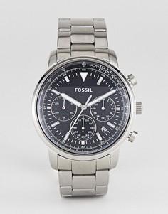Серебристые часы с хронографом Fossil FS5412 Goodwin 44 мм - Серебряный