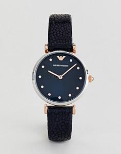 Темно-синие часы с кожаным ремешком Emporio Armani AR1989 - Темно-синий