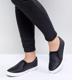 Кроссовки-слипоны из искусственной кожи для широкой стопы New Look - Черный