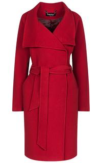 Бордовое пальто с поясом La Reine Blanche