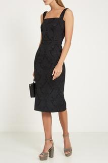 Серебристые текстильные босоножки Dolce&;Gabbana