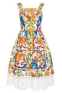 Платье из хлопка с принтом «майолика» Dolce&;Gabbana