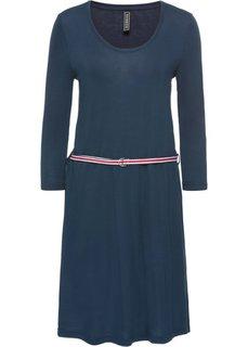 Платье с контрастным поясом (насыщенно-синий) Bonprix