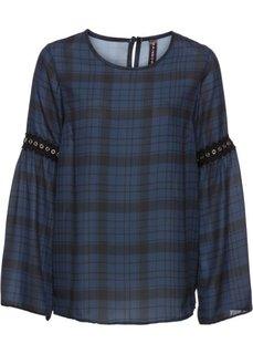 Блуза в клетку с заклепками (темно-синий/серый в клетку) Bonprix