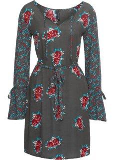 Платье с текстильным поясом (зеленый/различные цвета с рисунком) Bonprix