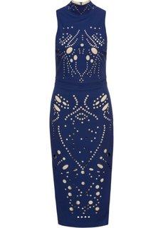 Платье ажурное (полуночная синь/бежевый) Bonprix