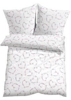 Постельное белье Цветочное сердце, линон (белый/розовый) Bonprix