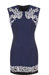 Приталенное мини-платье с круглым вырезом и контрастной вышивкой Versace